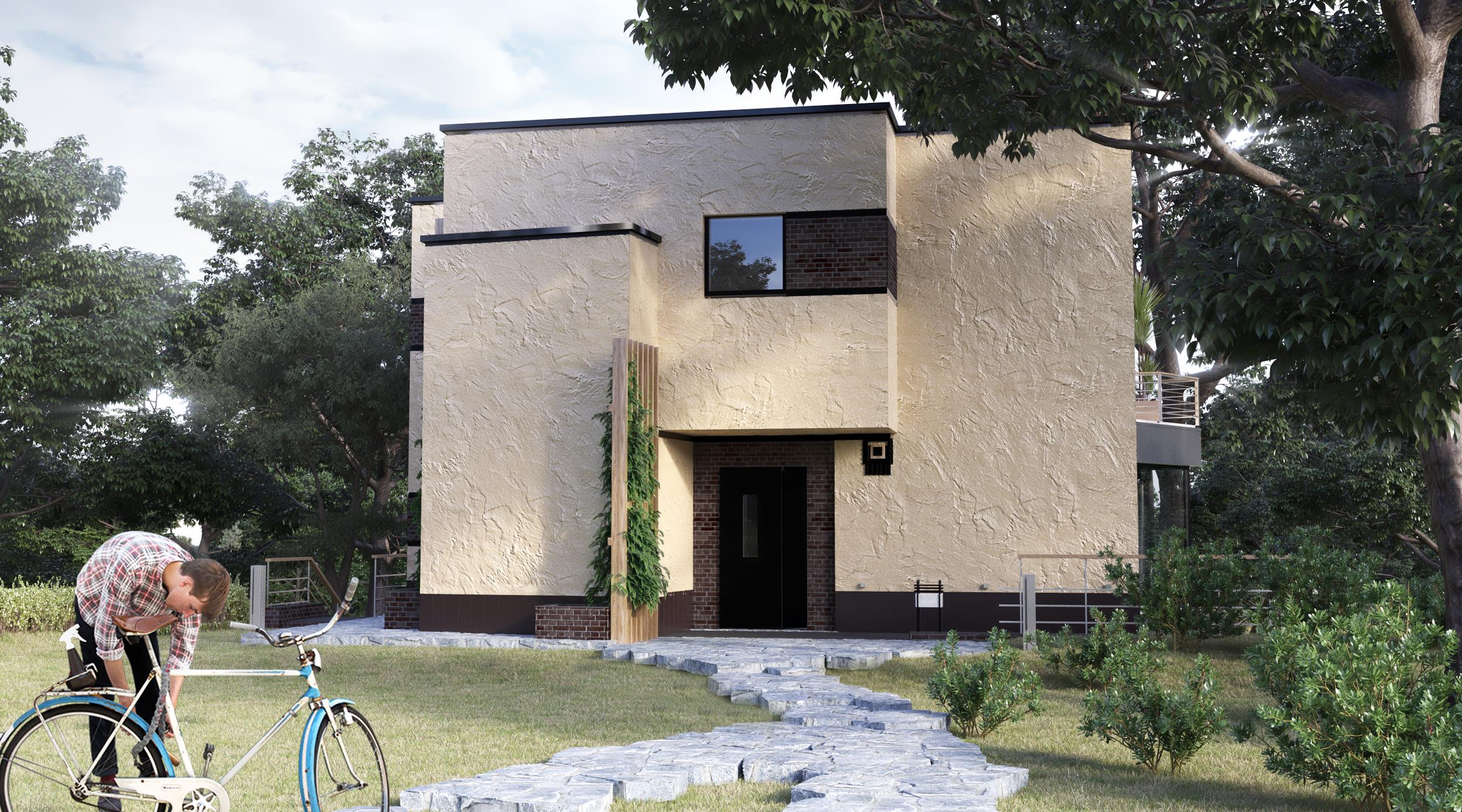 Вид со стороны улицы; Северн - проект дома с плоской кровлей и террасами на склоне