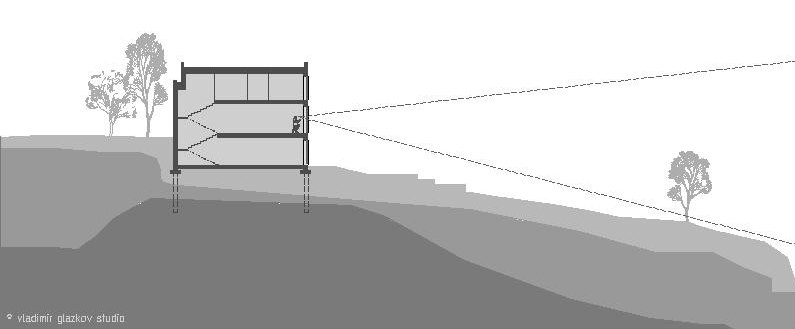 Sectional view - the house is located in a place where strong soils are closest to the surface