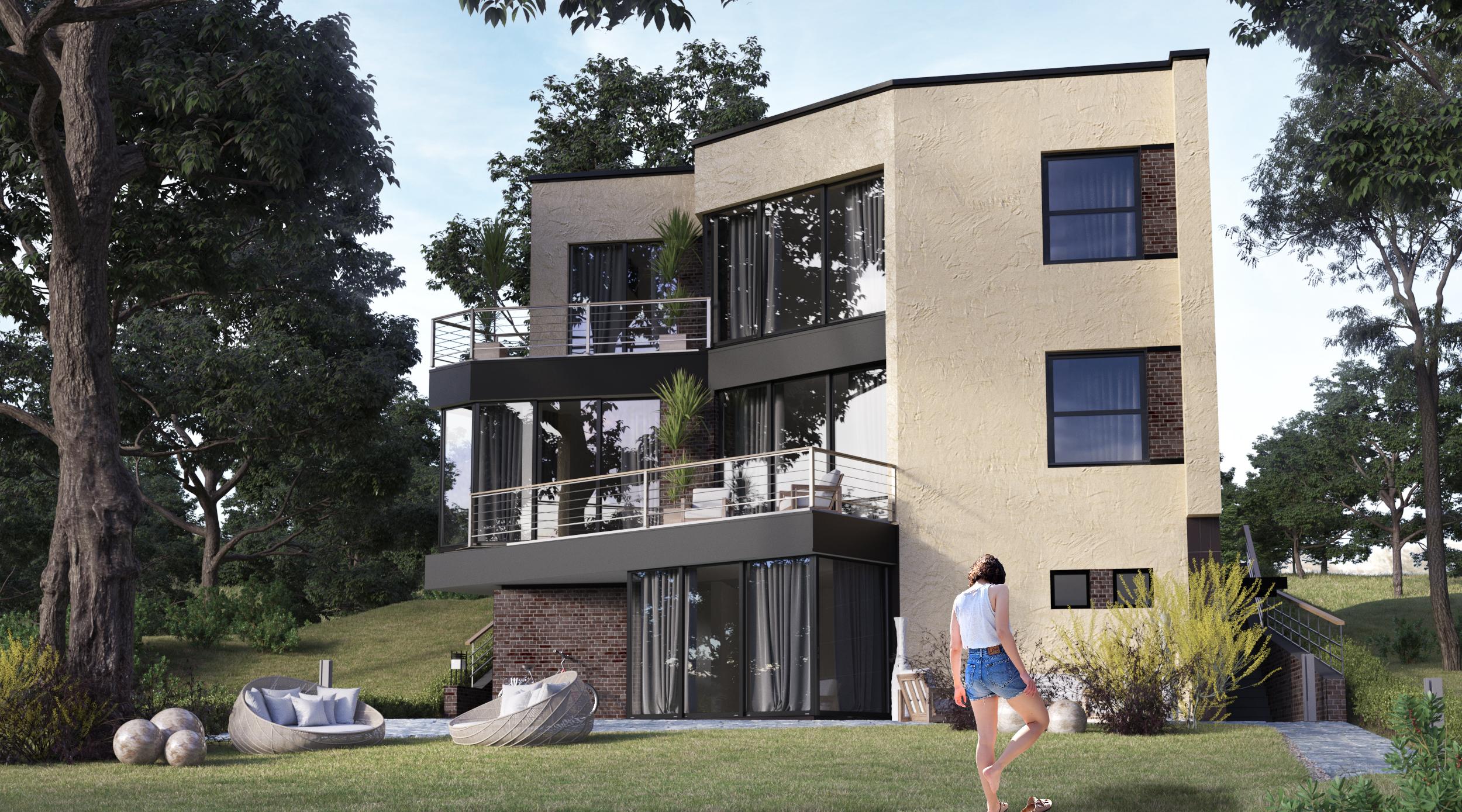 Вид со стороны двора; Северн - проект дома с плоской кровлей и террасами на склоне