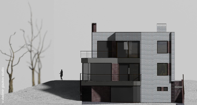Дворовой фасад; вариант отделки 1; Северн - проект дома с плоской кровлей и террасами на склоне