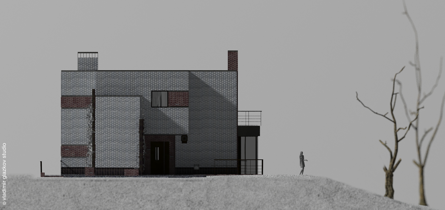Главный фасад; вариант отделки 1; Северн - проект дома с плоской кровлей и террасами на склоне