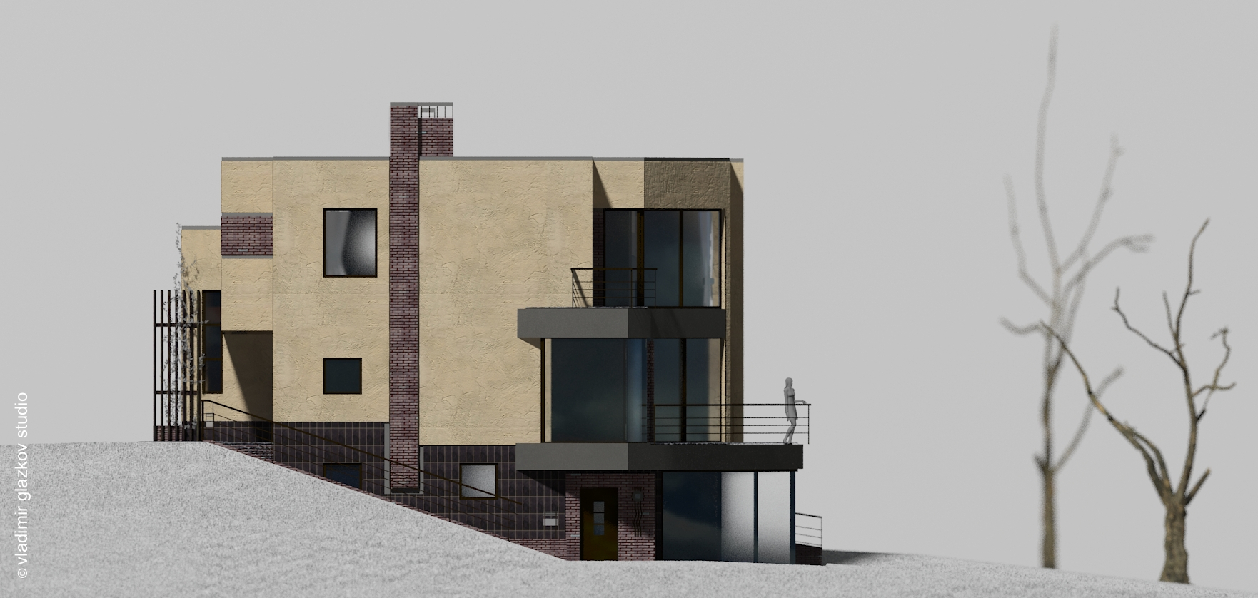 side elevation; Severn - house project with flat roof and terraces on the slope