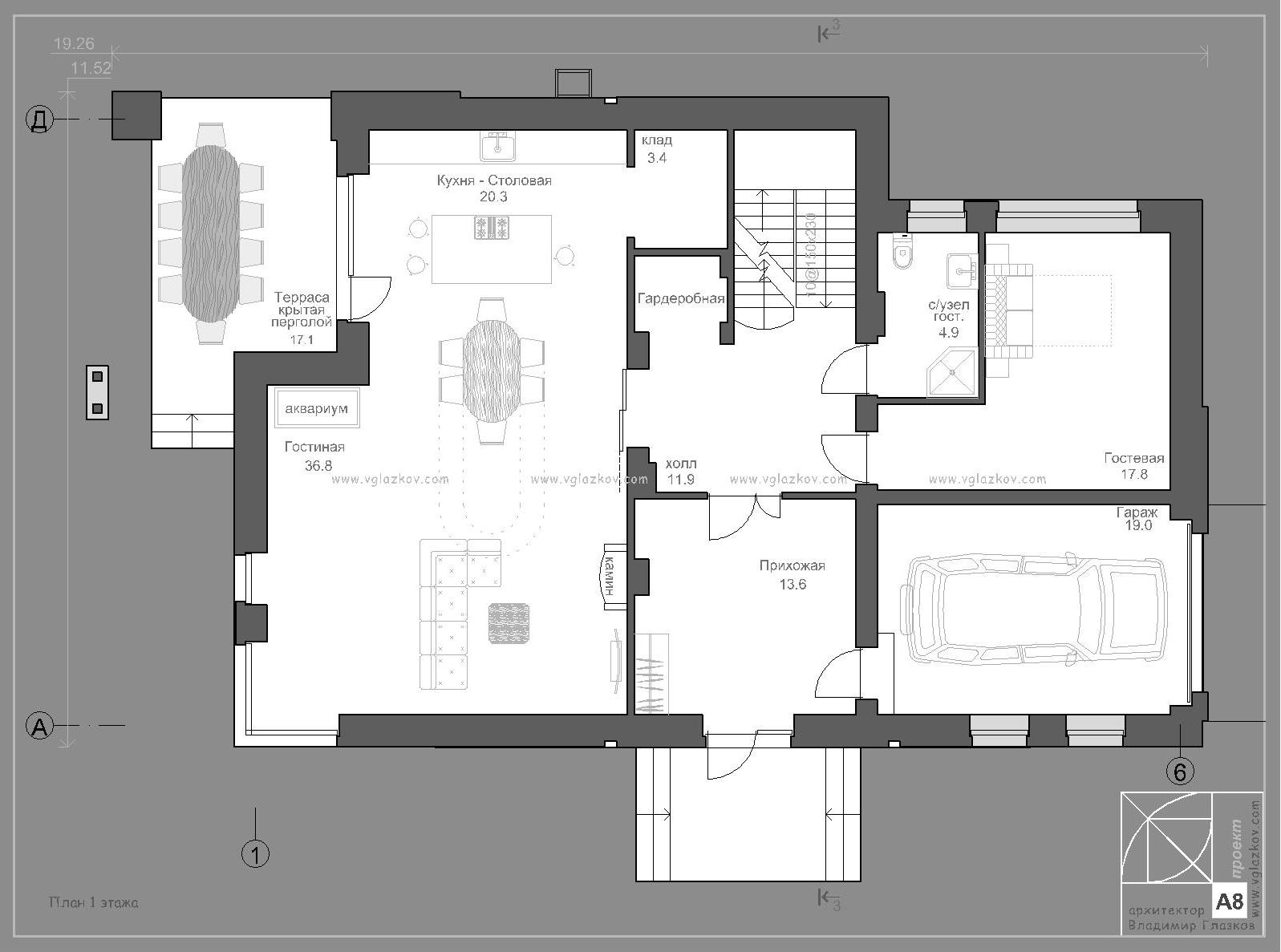 Проект дома с плоской кровлей, террасами и панорамными окнами - проект А8, план 1 этажа
