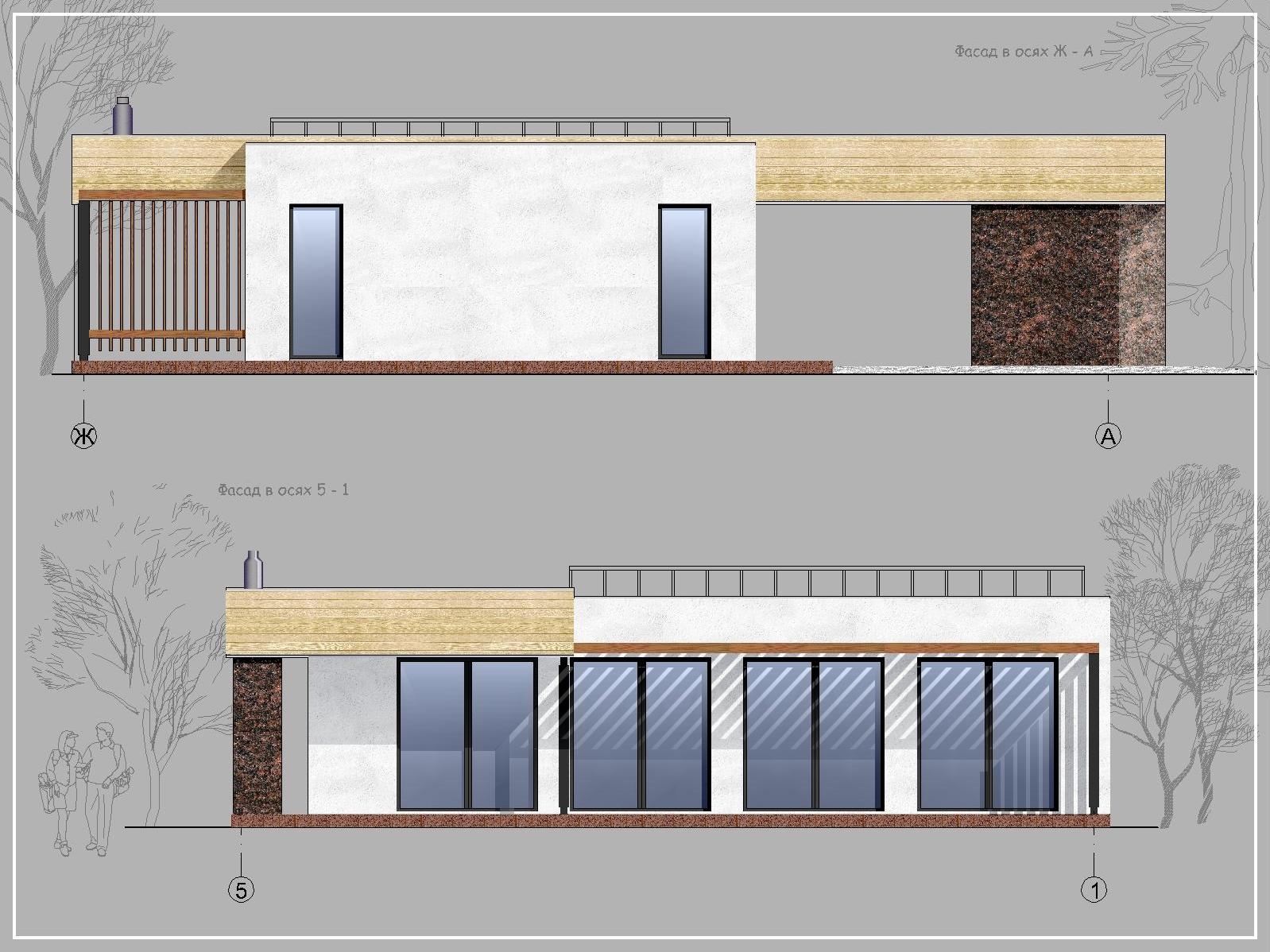 А9 - Проект одноэтажного современного дома с плоской кровлей, панорамными окнами, навесом и террасой - фасады