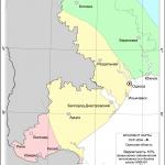 Карта А, можлива сила землетрусу для міста Рені - 8 балів, ймовірність такої події - раз на 500 років.