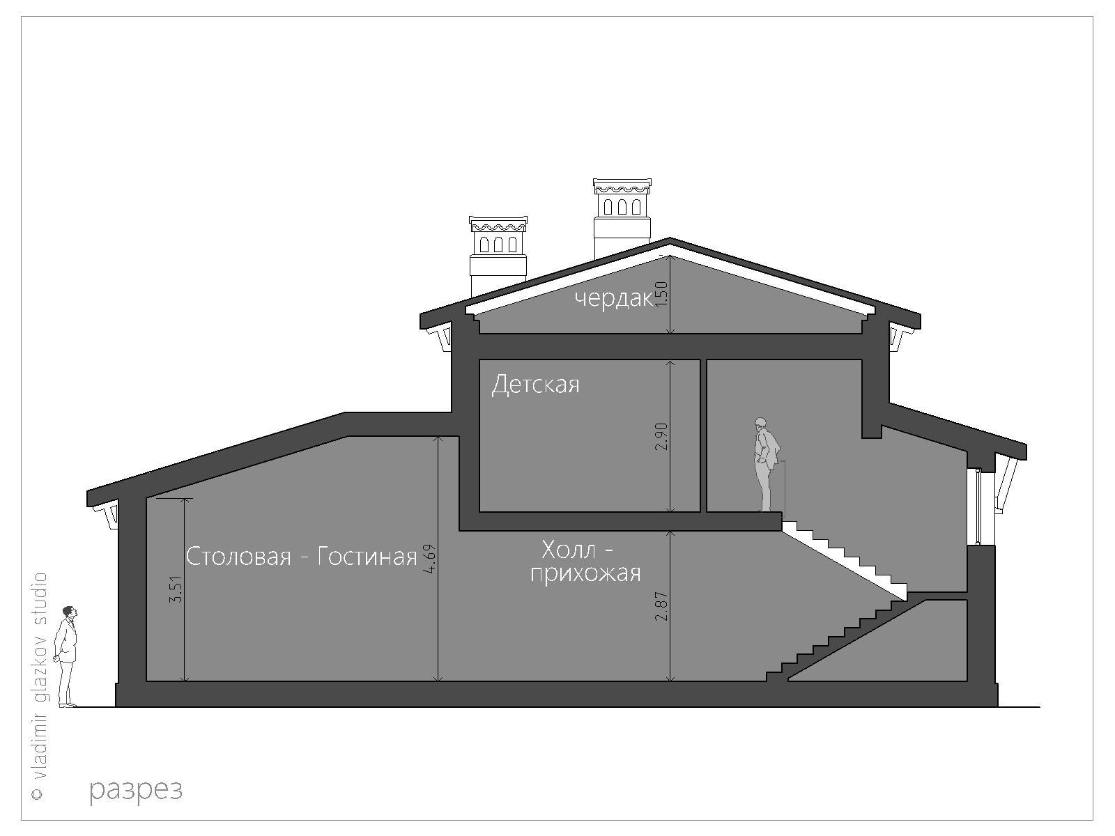 Проект дома в Средиземноморском стиле с террасами панорамными окнами, разрез