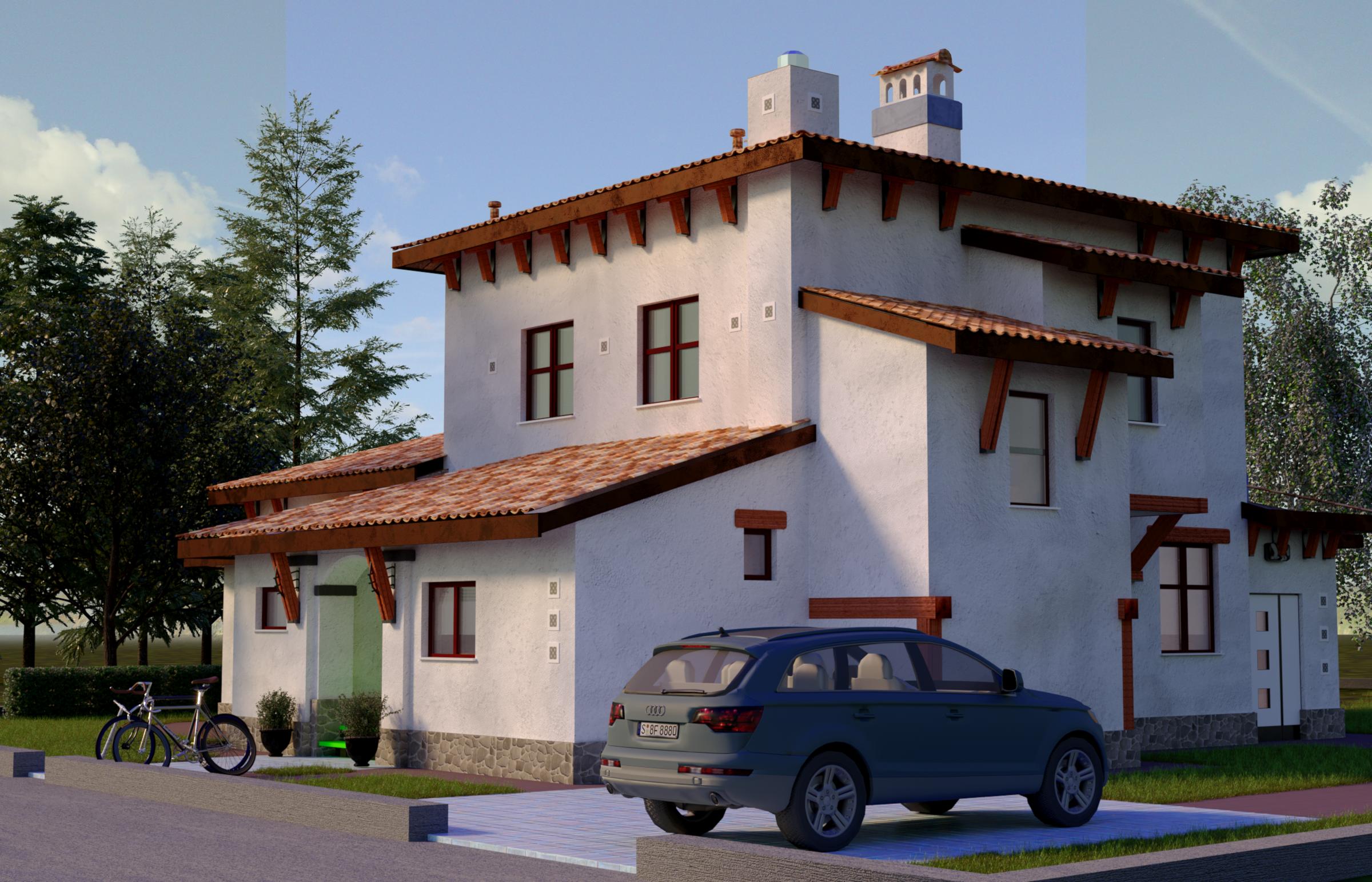 Проект будинку в Середземноморському стилі з терасами панорамними вікнами, вид 1