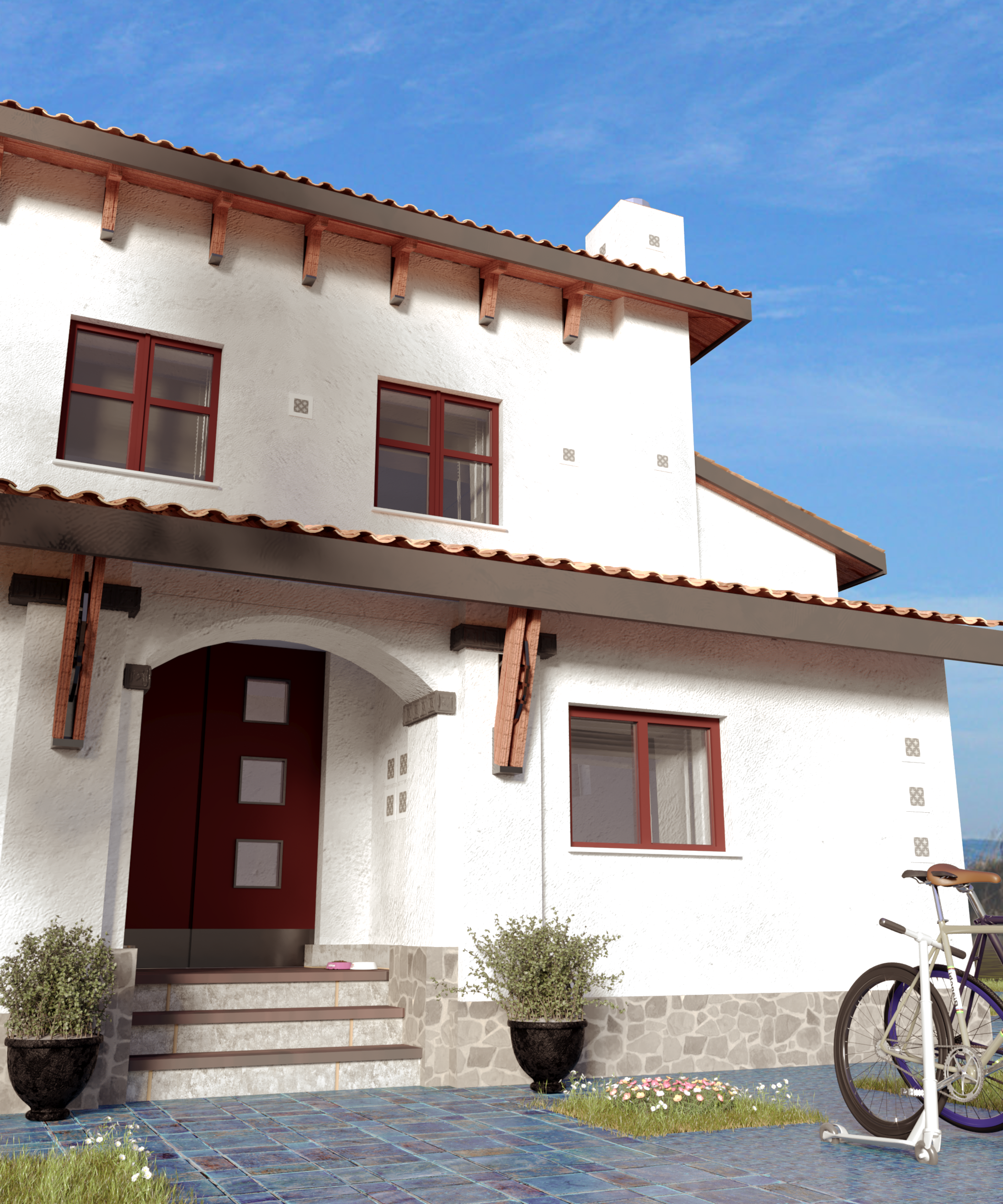 Mediterranean style house project with terraces with panoramic windows, view 3