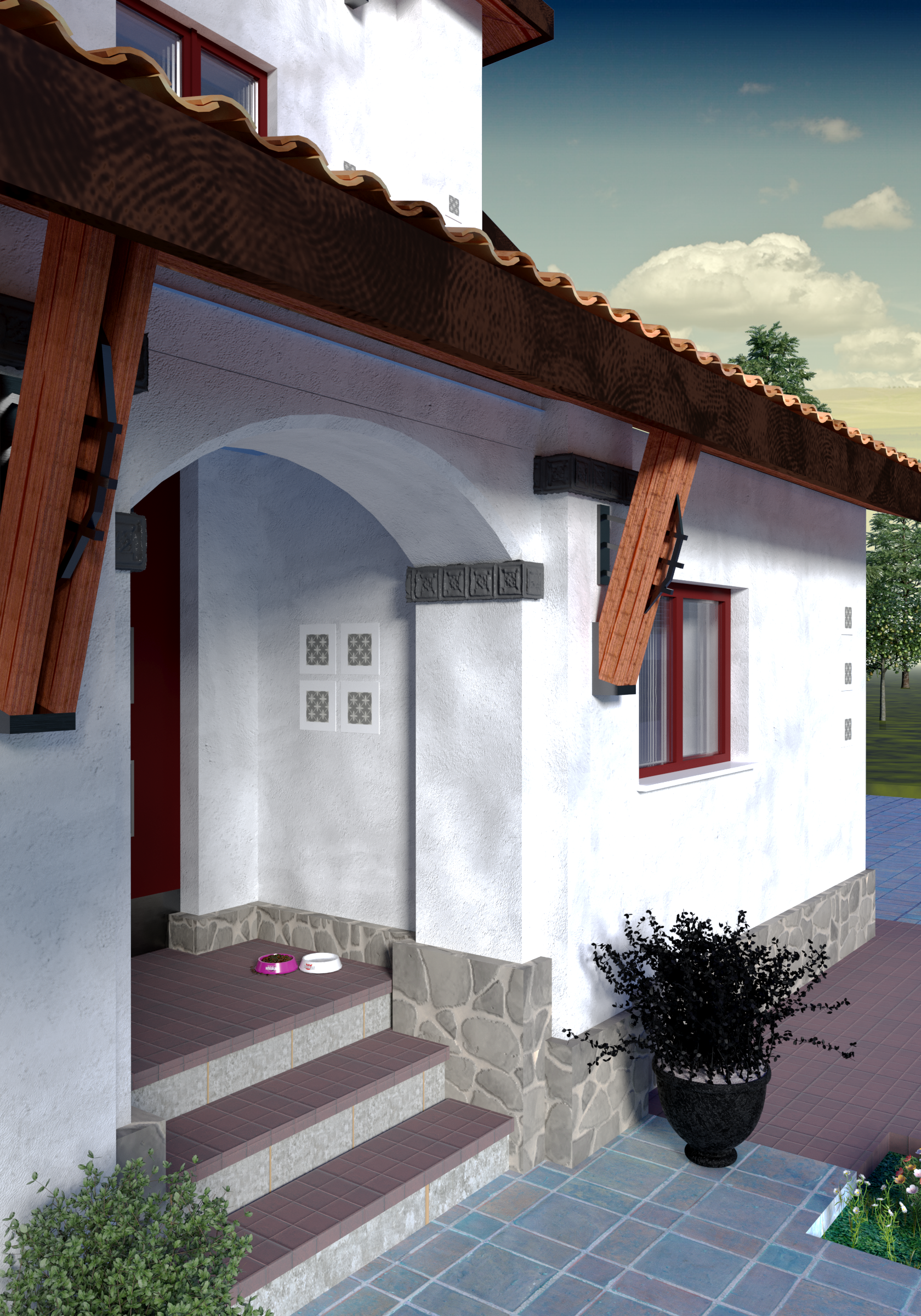 Mediterranean style house project with terraces with panoramic windows, view 4