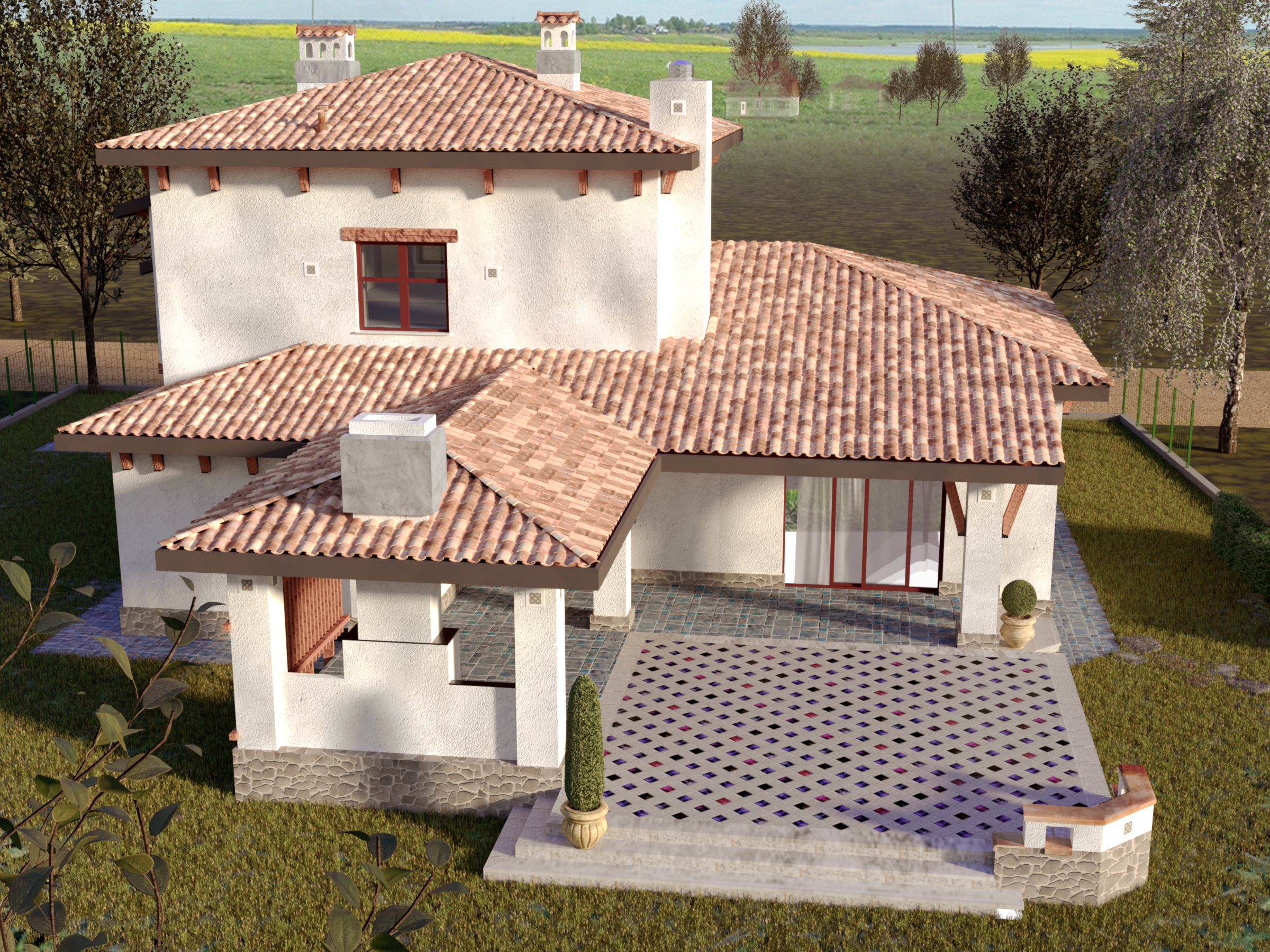 Mediterranean style house project with terraces with panoramic windows, view 7