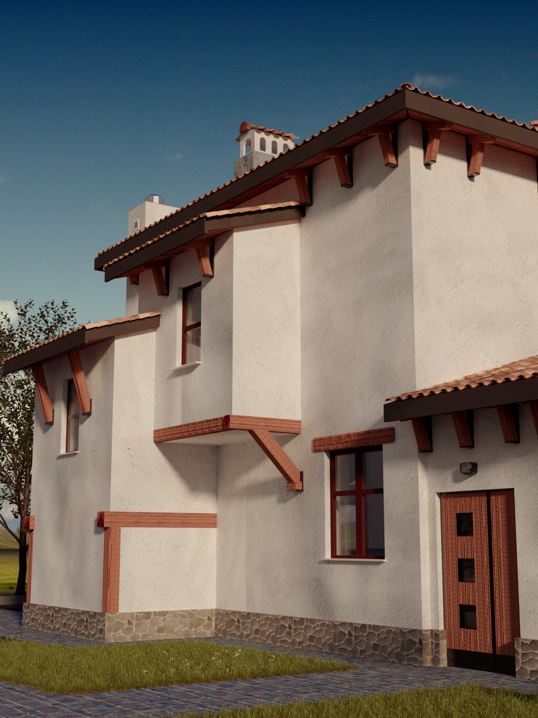 Mediterranean style house project with terraces with panoramic windows, view 9