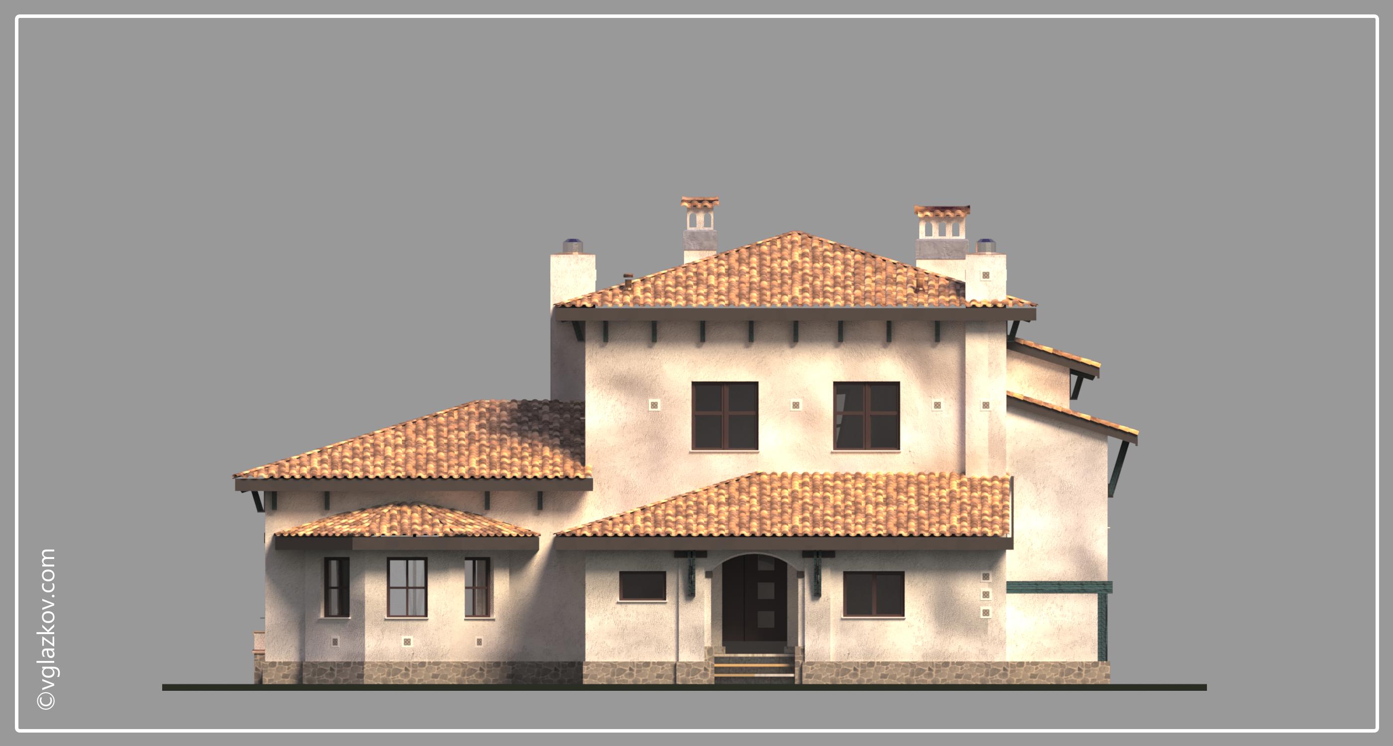 Проект дома в Средиземноморском стиле с террасами панорамными окнами, фасад 1