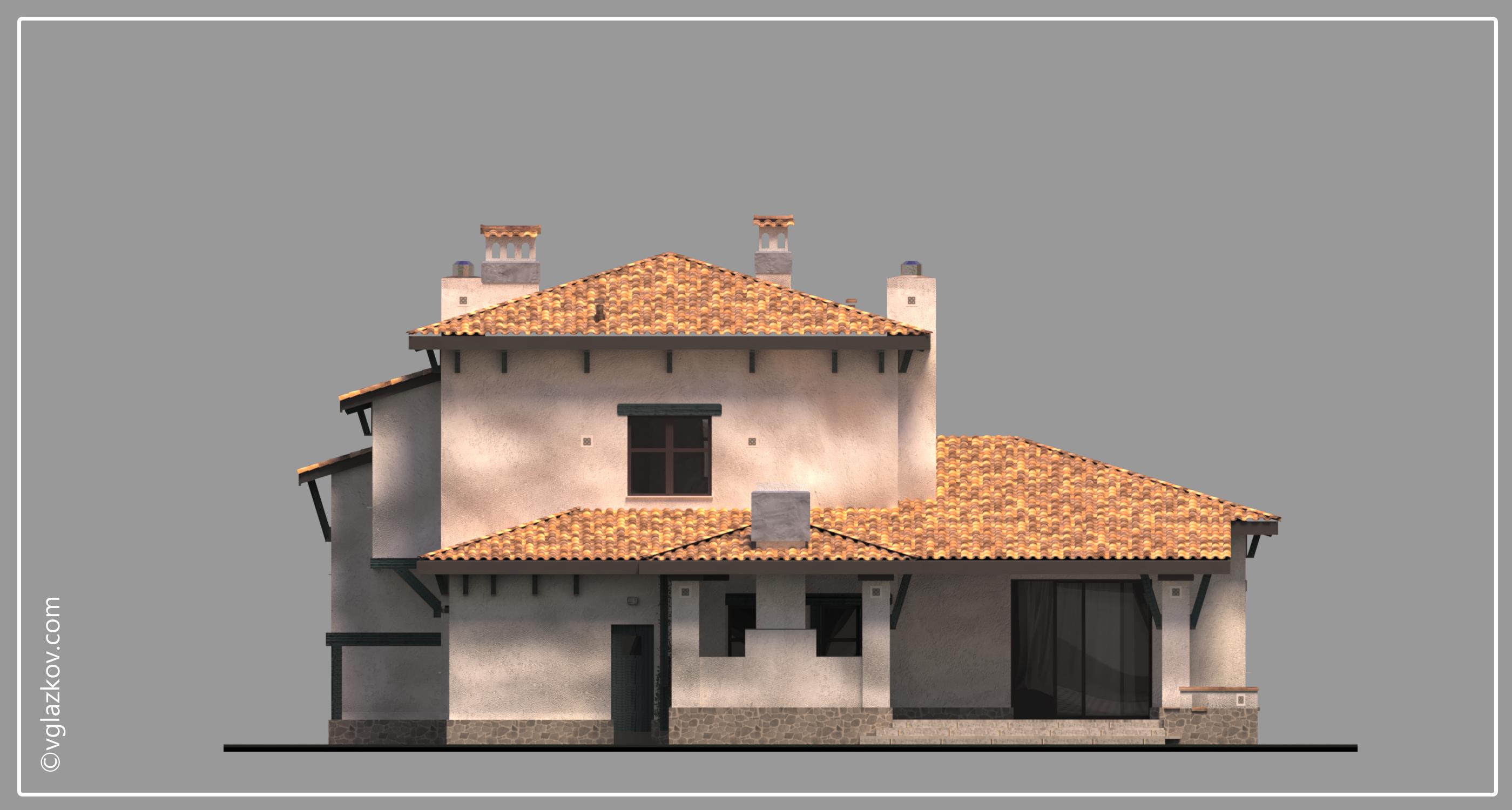 Проект дома в Средиземноморском стиле с террасами панорамными окнами, фасад 3