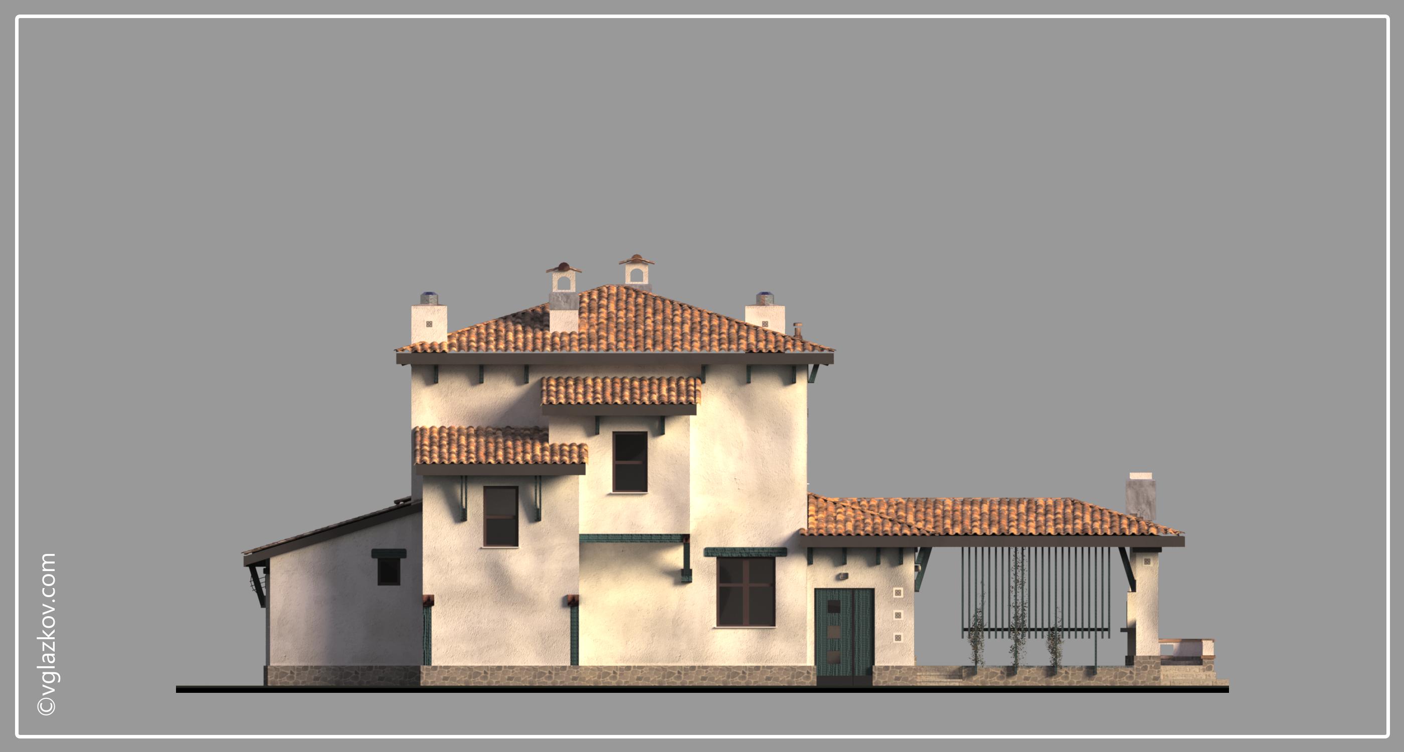 Проект дома в Средиземноморском стиле с террасами панорамными окнами, фасад 4