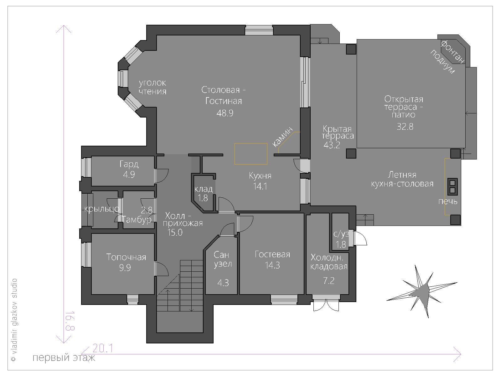 Проект дома в Средиземноморском стиле с террасами панорамными окнами, план 1
