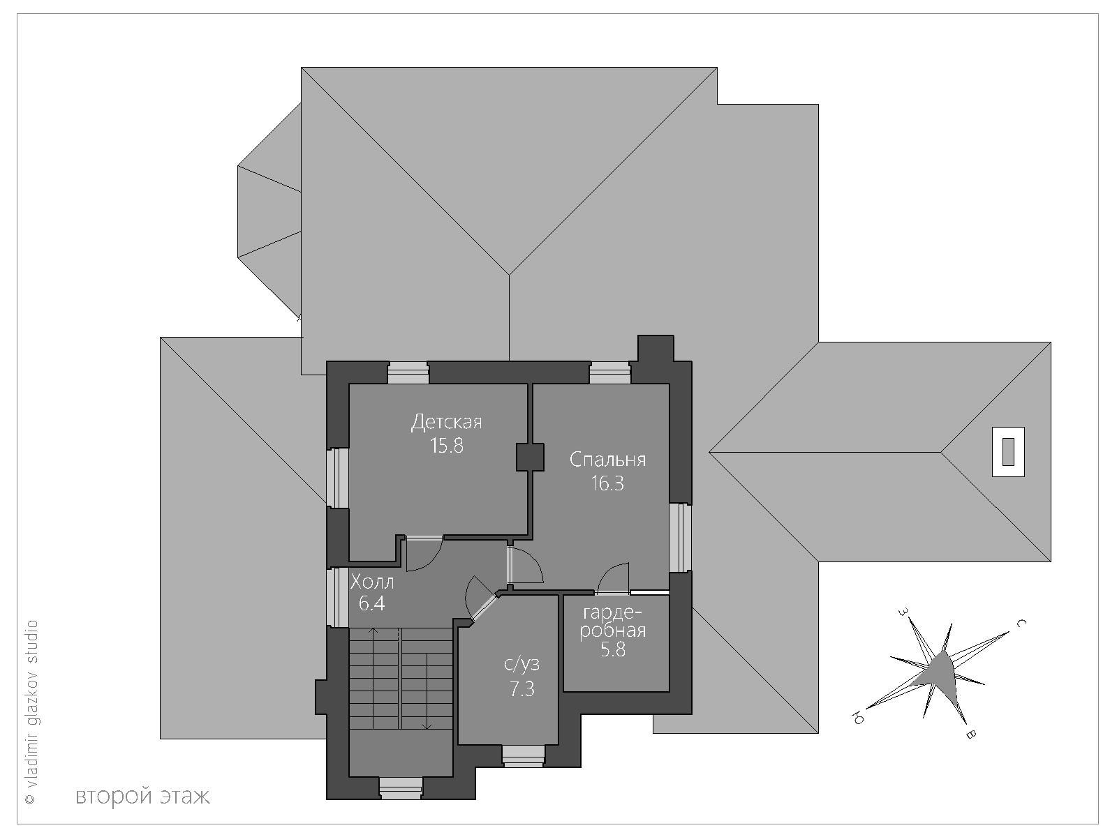 Проект дома в Средиземноморском стиле с террасами панорамными окнами, план 2